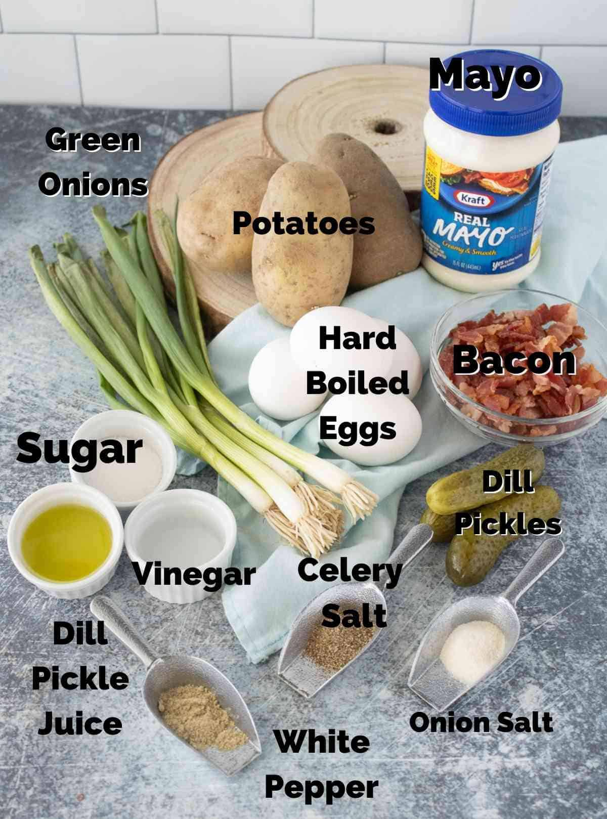 Ingredients for dill pickle salad.