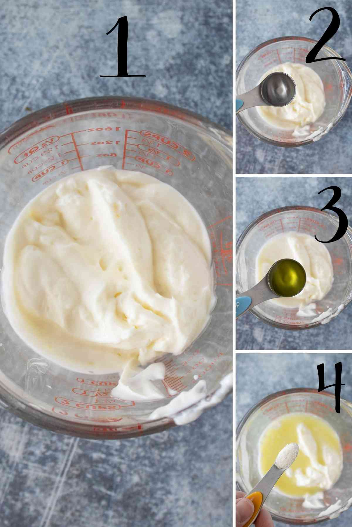 Mayo in a bowl with vinegar, dill pickle juice, and sugar added.