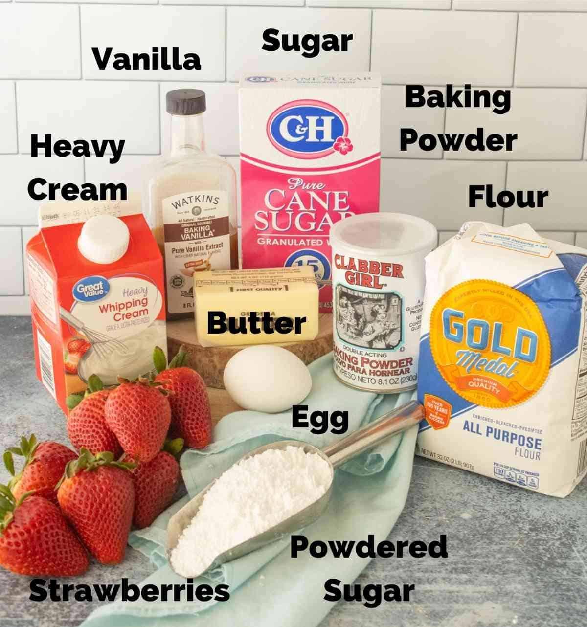 Ingredients for strawberry shortcake.