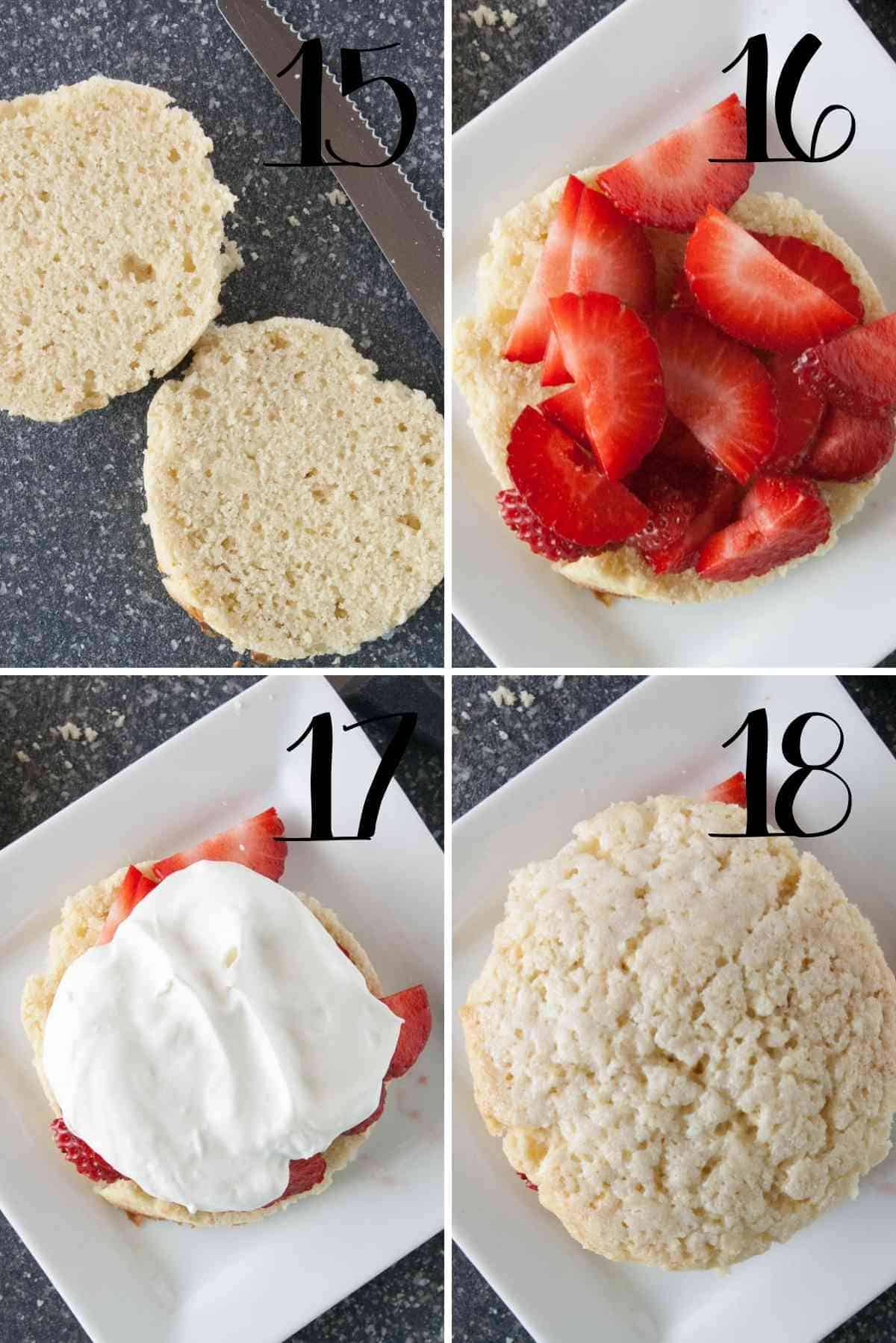 Assembly of strawberry shortcakes.