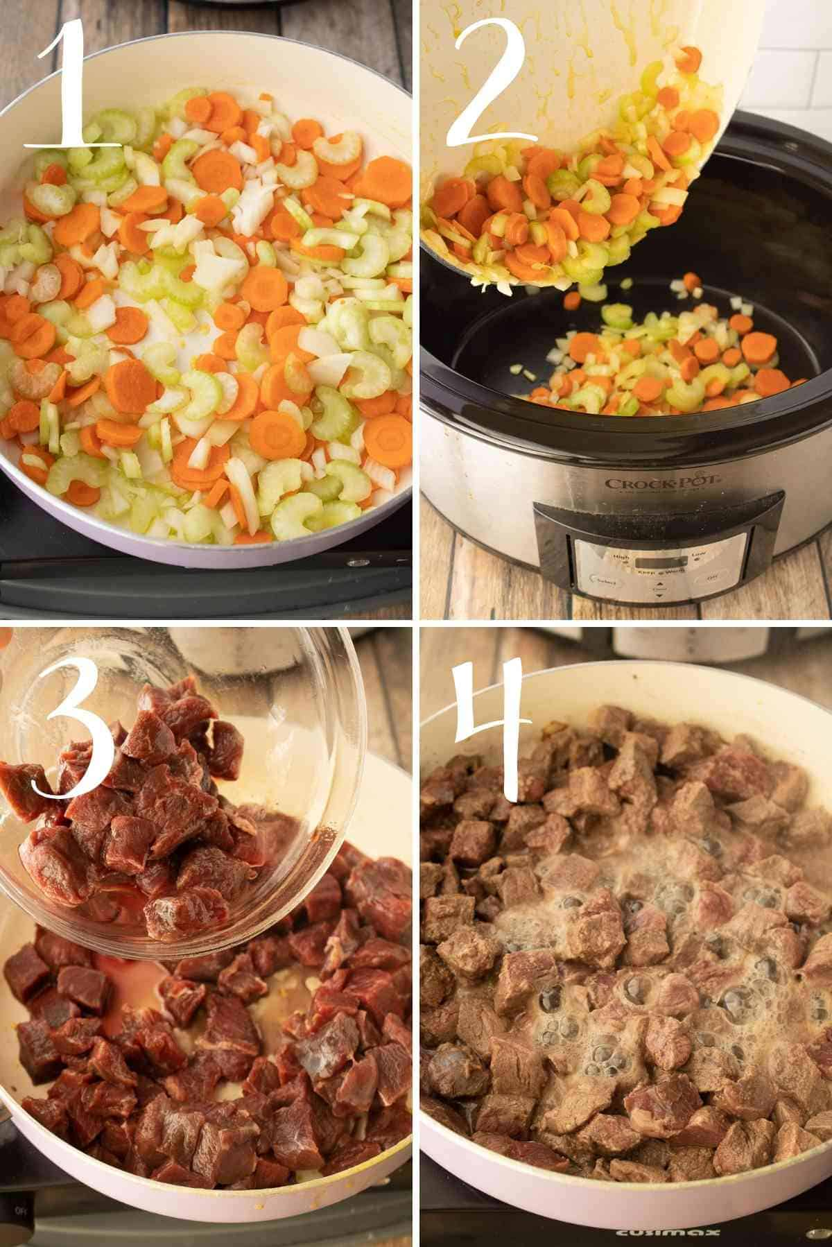 Vegetables sautéed and dumped into a crockpot followed by browning of beef.