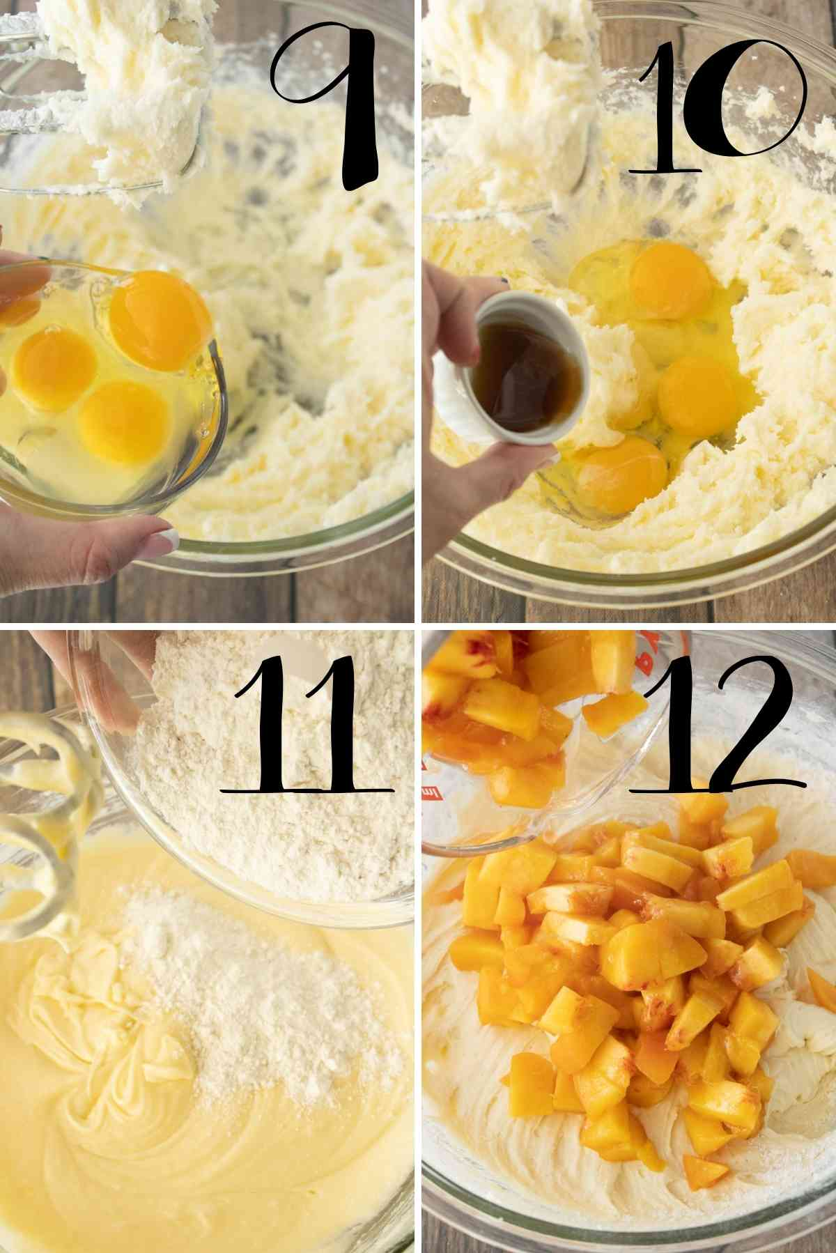 Beat in eggs, extracts, halt the flour.  Add the peaches.