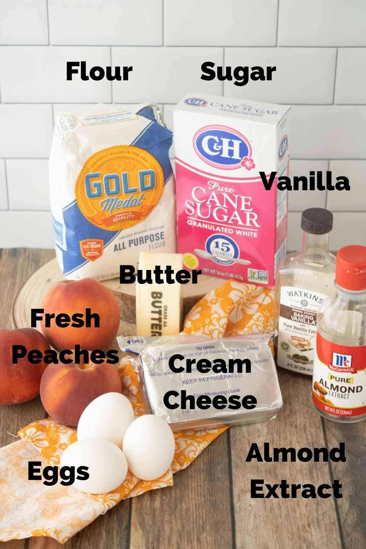 All the ingredients you need to make this peach cake!