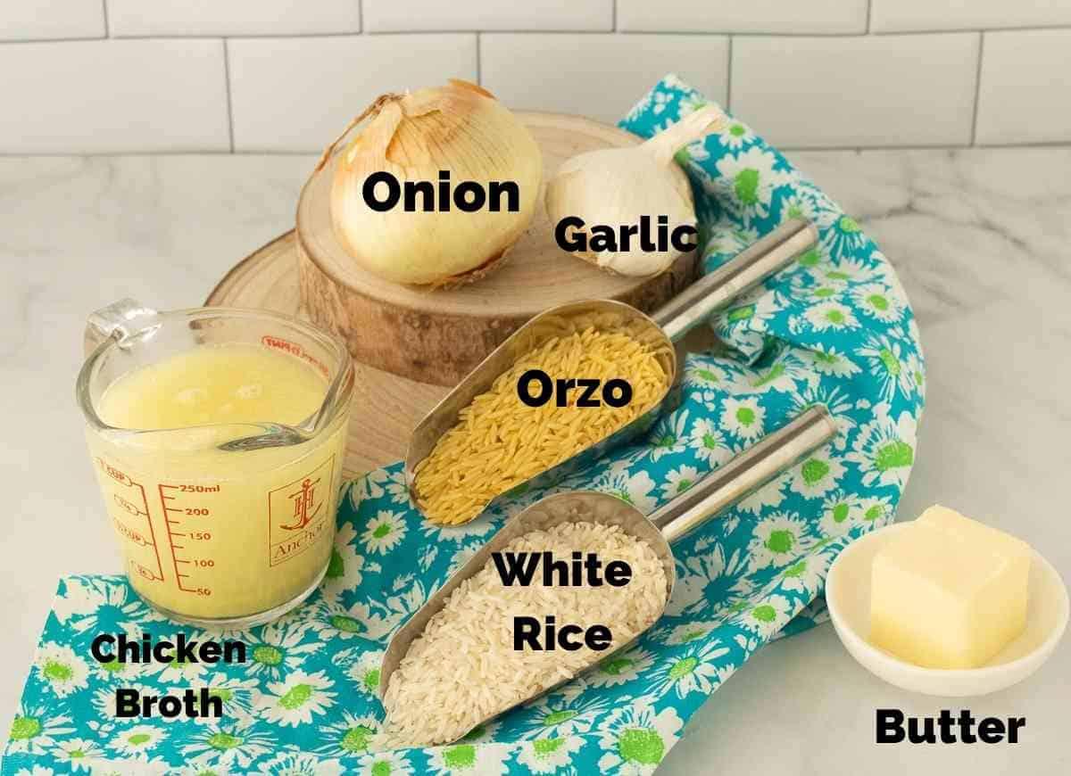 Ingredients the make orzo rice pilaf.