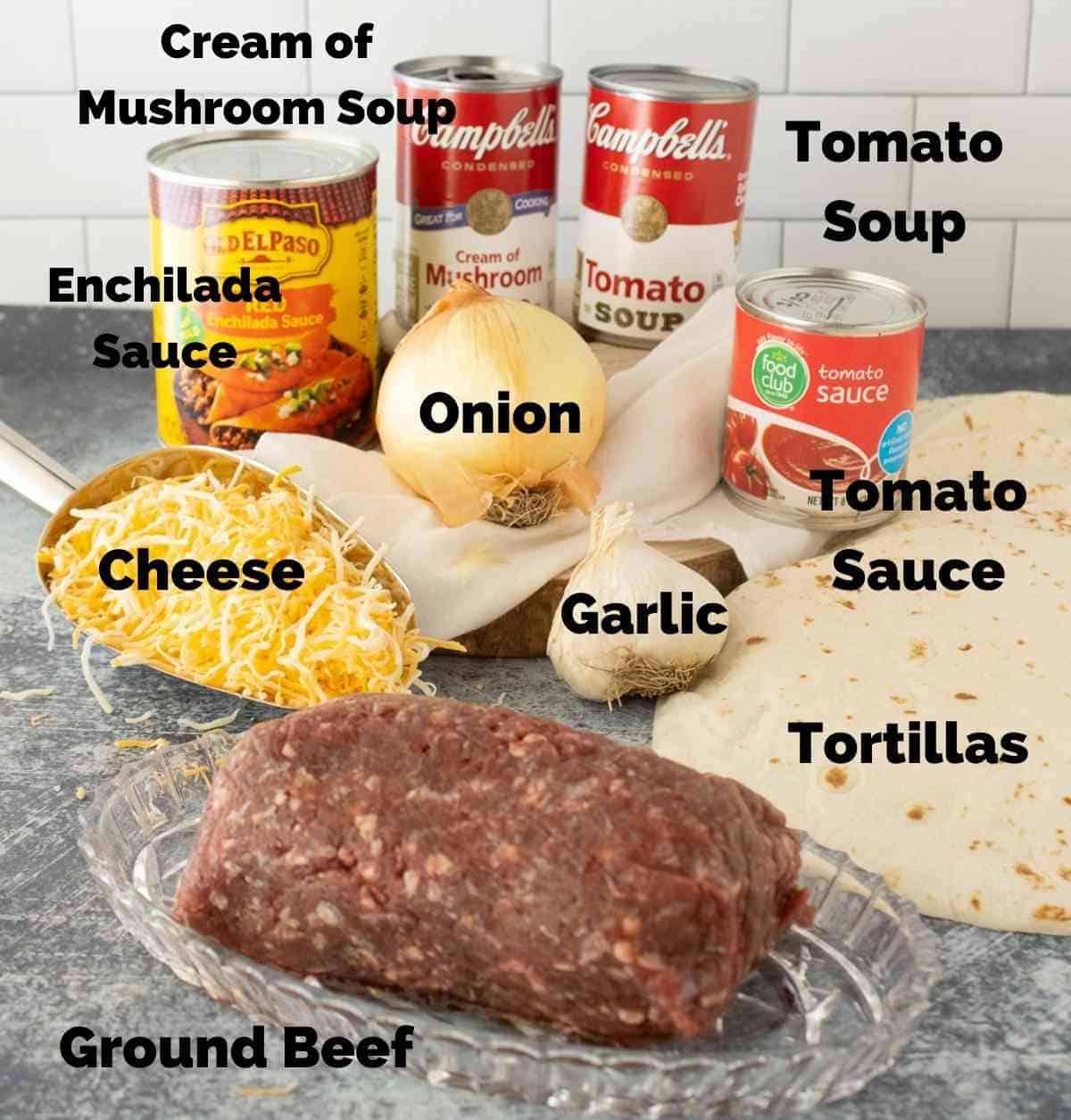 Ingredients for ground beef enchiladas.