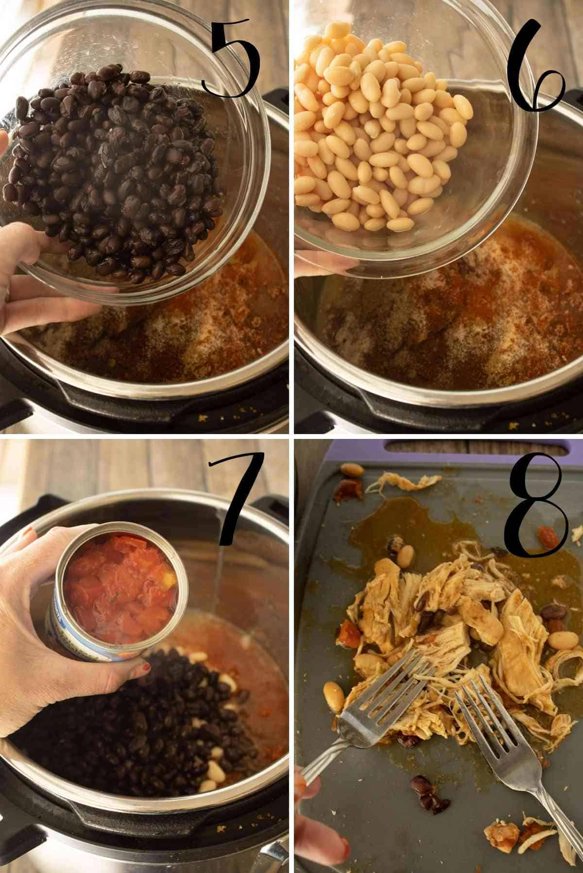 Add the beans and tomatoes.  Seal and cook!  Remove chicken and shred.