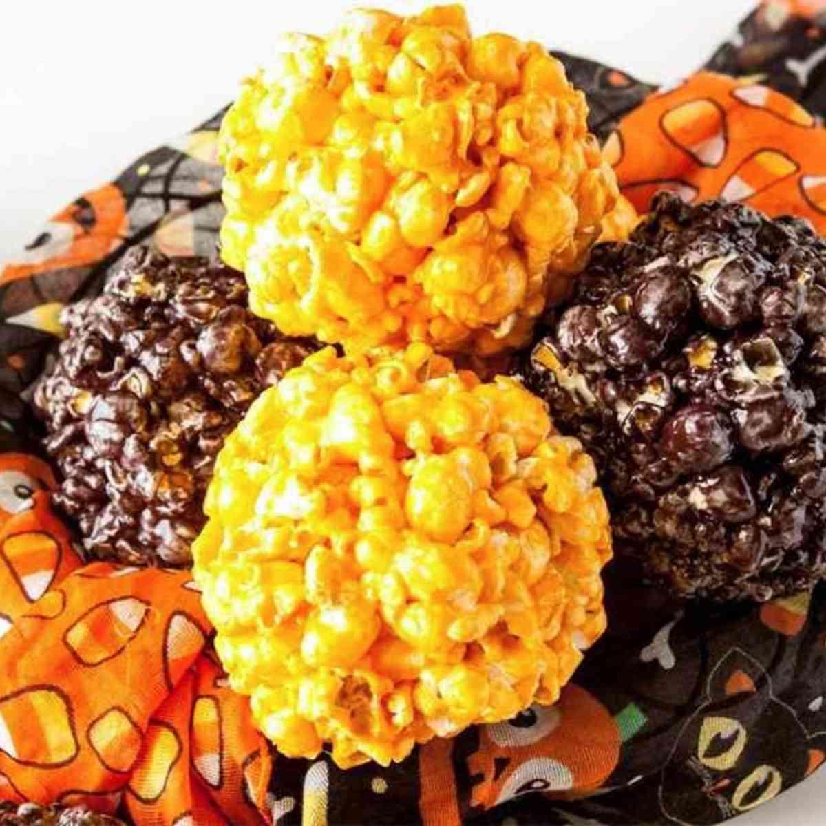 Colorful popcorn marshmallow balls for Halloween