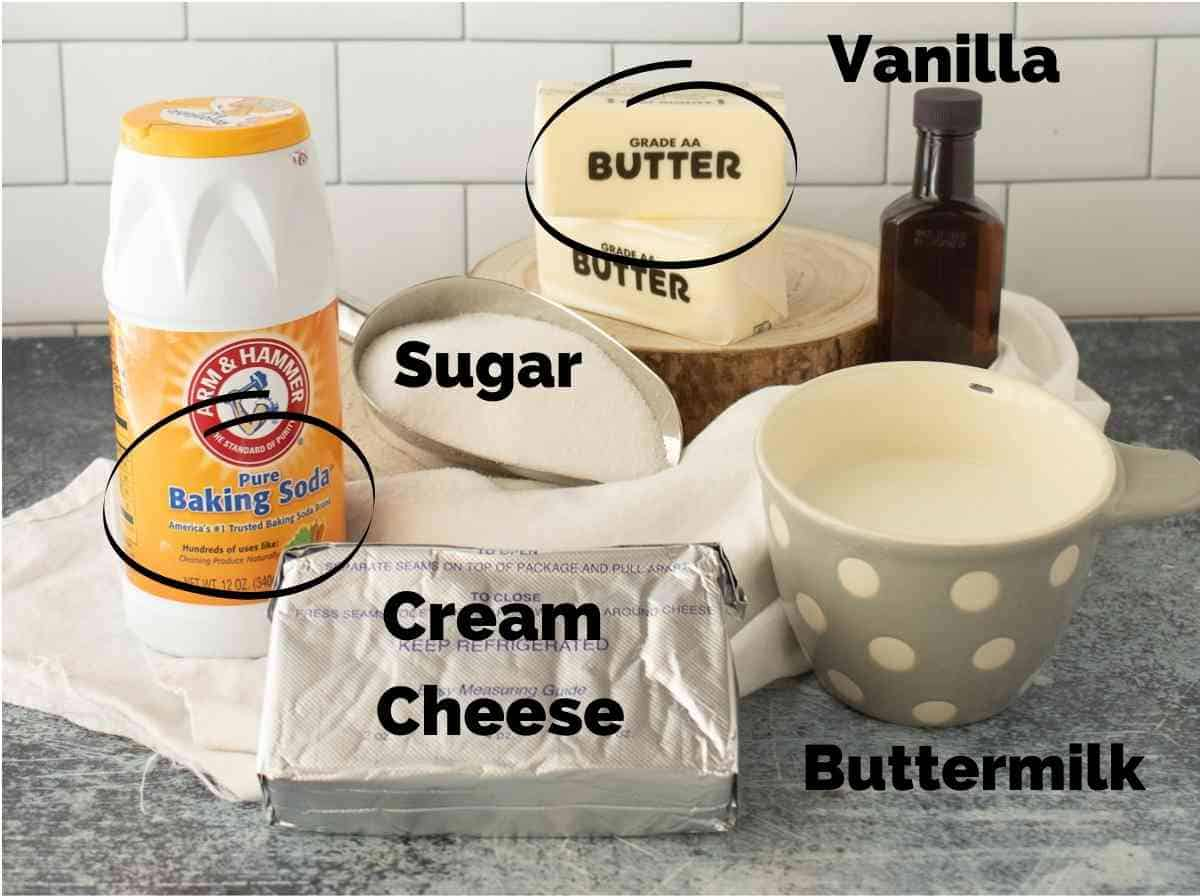 Ingredients to make Cream Cheese Syrup.