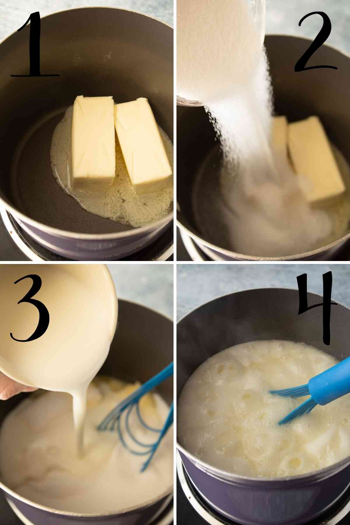 Butter, sugar and buttermilk added to a pot and brought to a boil.