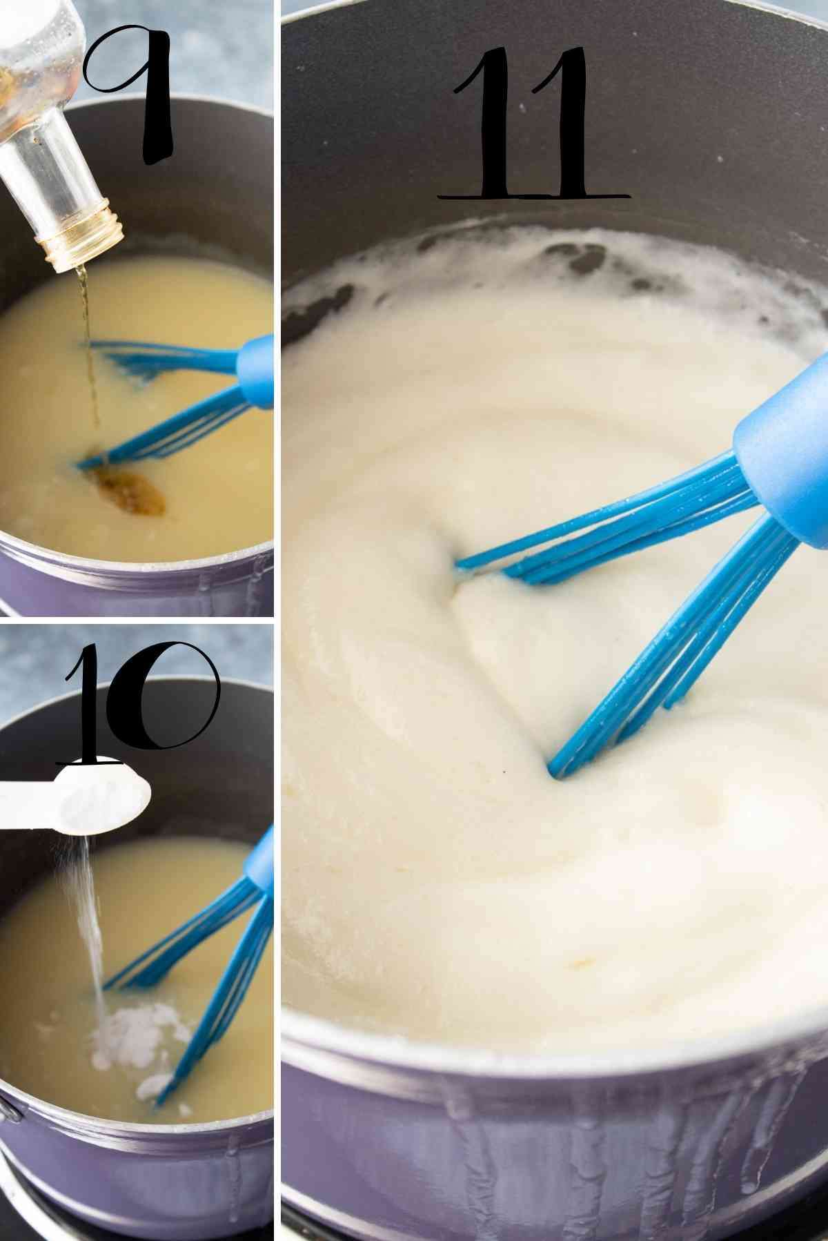Add the vanilla and the baking soda. to create a super fluffy syrup!