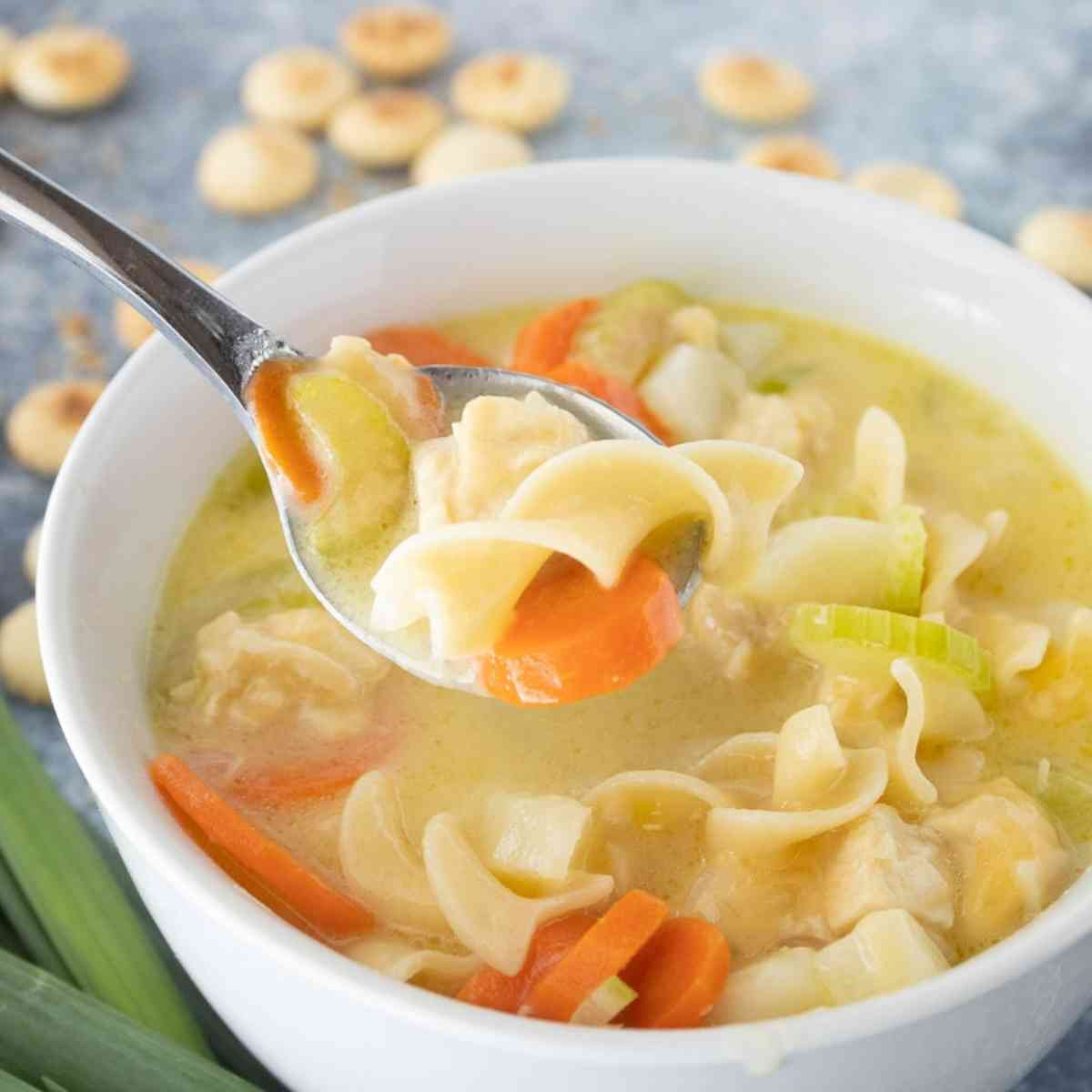 Bowl of creamy chicken noodle soup.