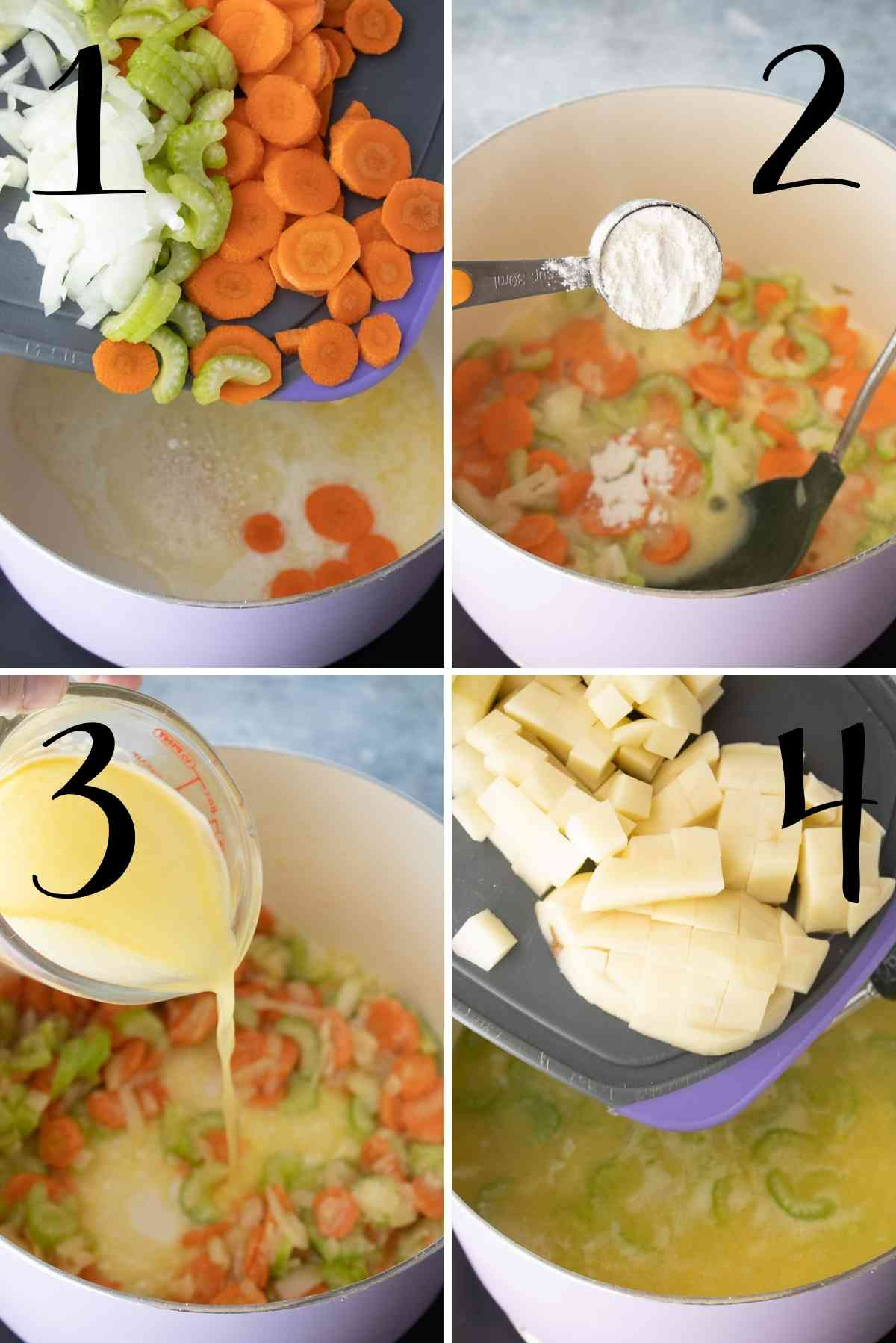 Carrots, celery, onions sauteed in butter, addition of flour followed by broth.