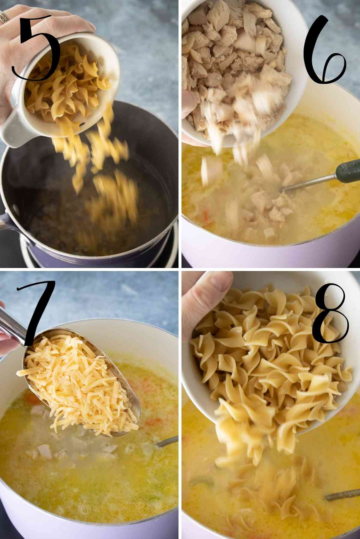 Noodle being cooked in a separate pot then added to the soup with chicken and cheese.