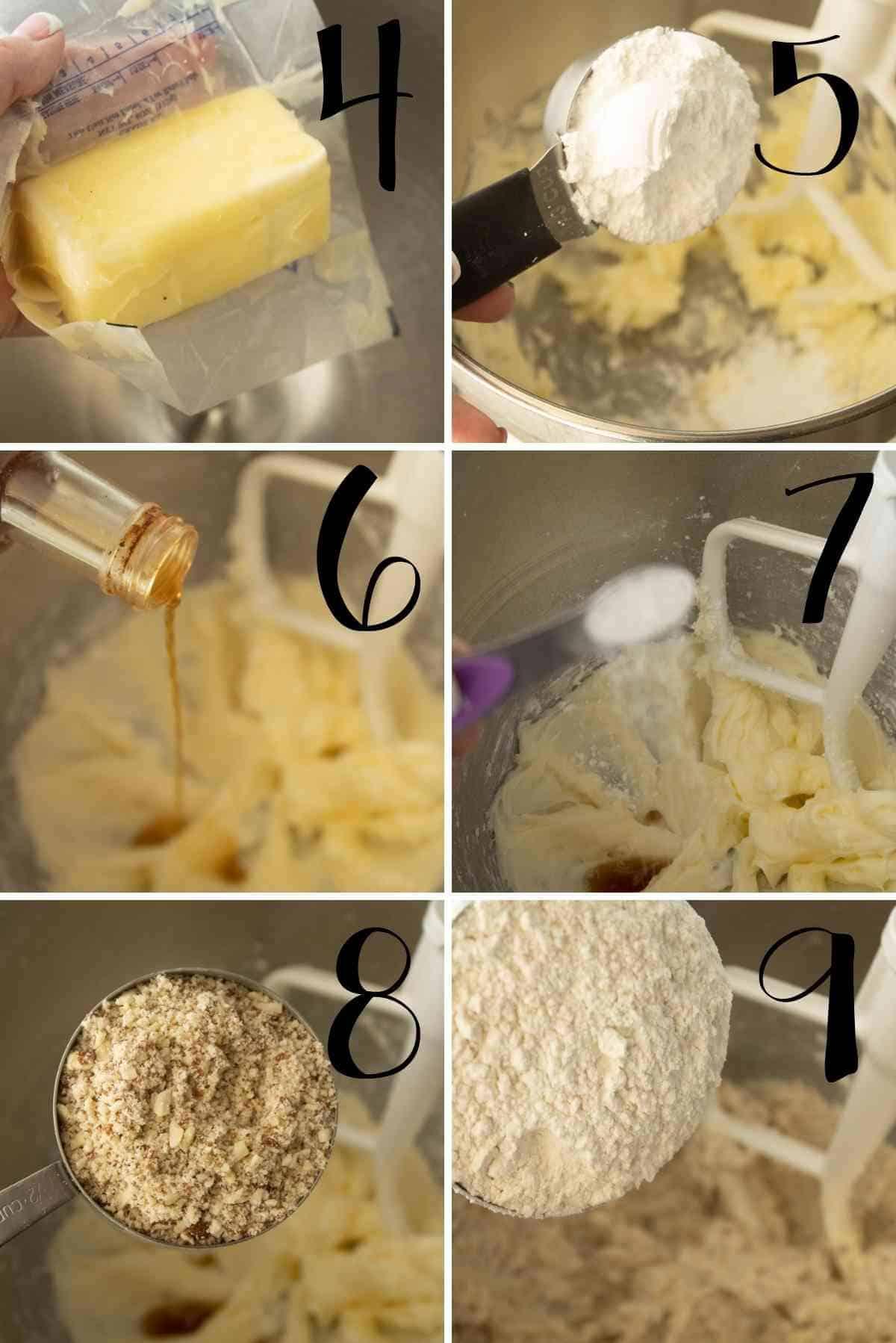 Mix butter, powdered sugar, vanilla, salt, ground almonds and flour into a stiff shortbread dough.