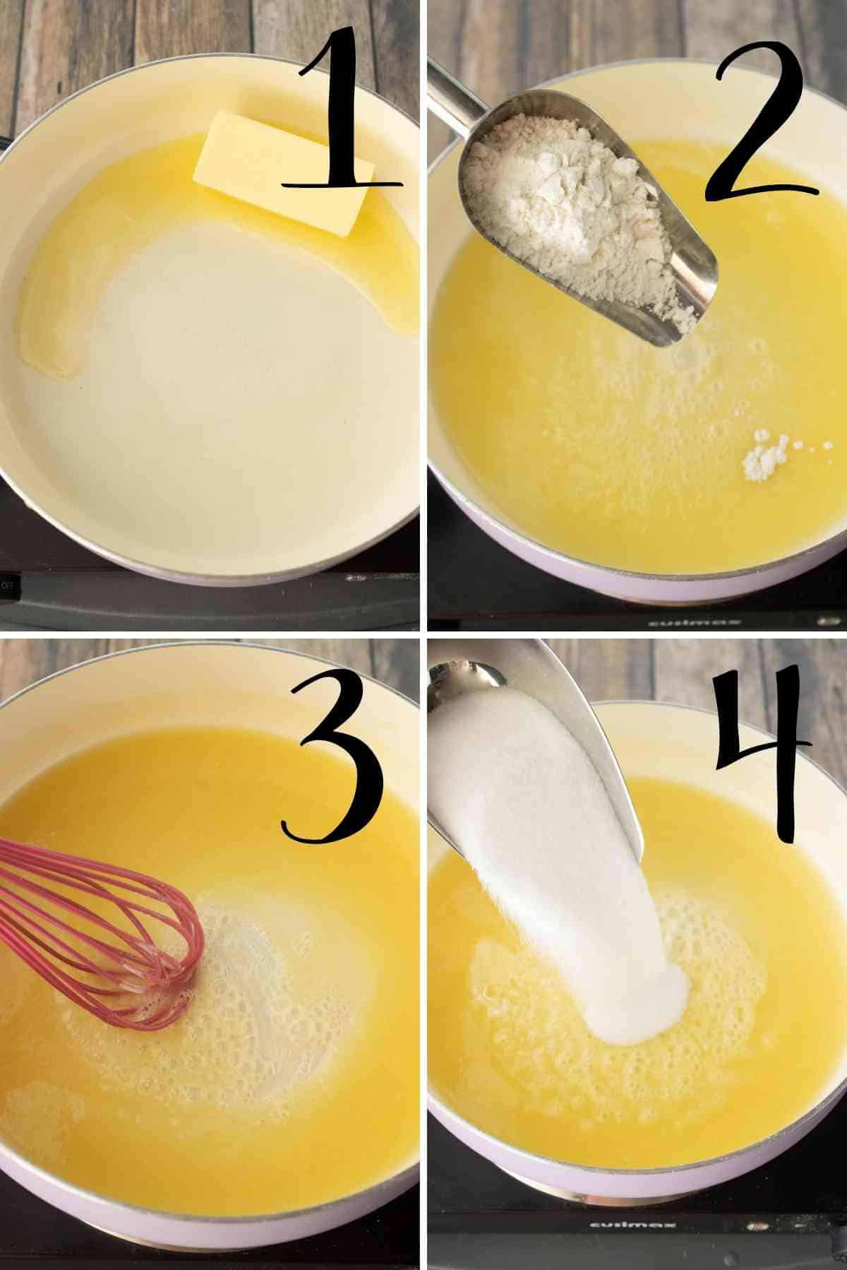 Melt the butter, whisk in the flour and add the sugar to start the caramel sauce.