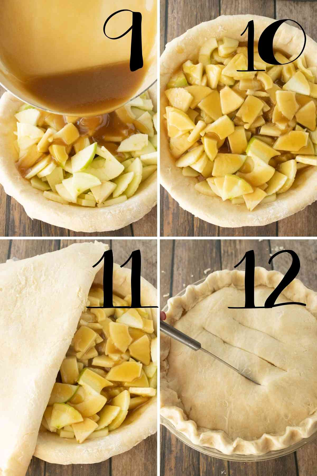 Put sliced apple in the bottom of a pie shell and pour the caramel sauce over the top.