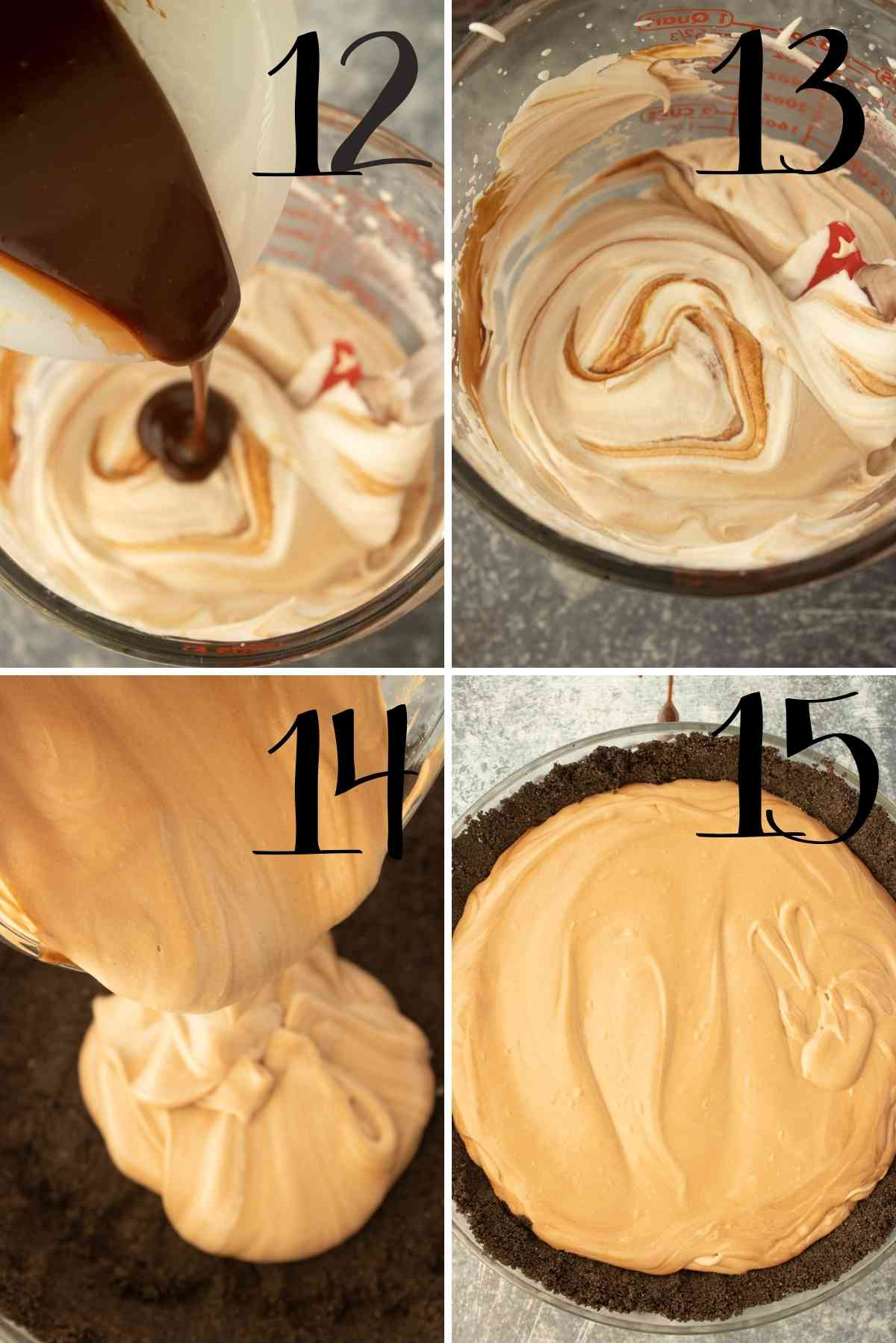 Fold cooled chocolate in the whipped cream and pour into the crust.
