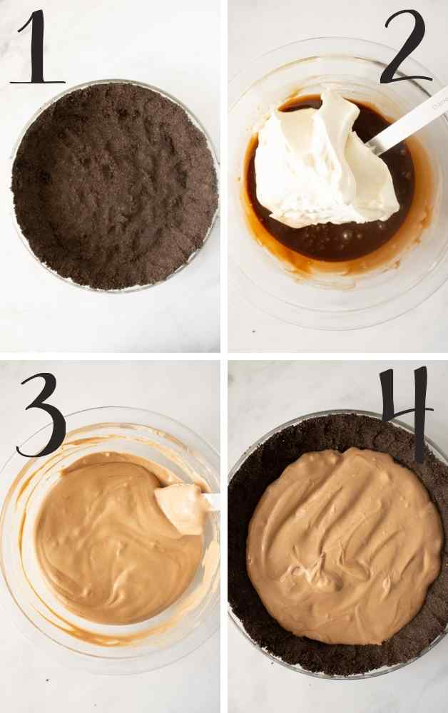 Pics showing the progression of the pie from crust to chocolate mousse layer added.