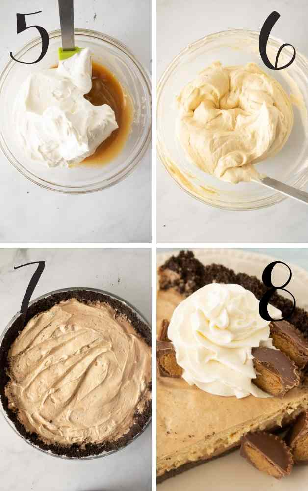 Pics showing peanut butter mousse prep, adding and completed pie.