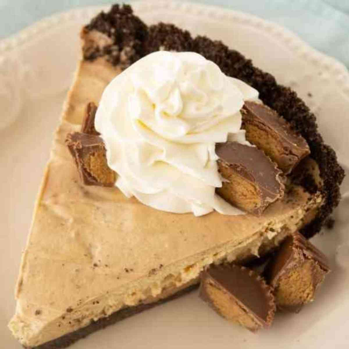 Slice of chocolate peanut butter mousse pie garnished with whipped cream.