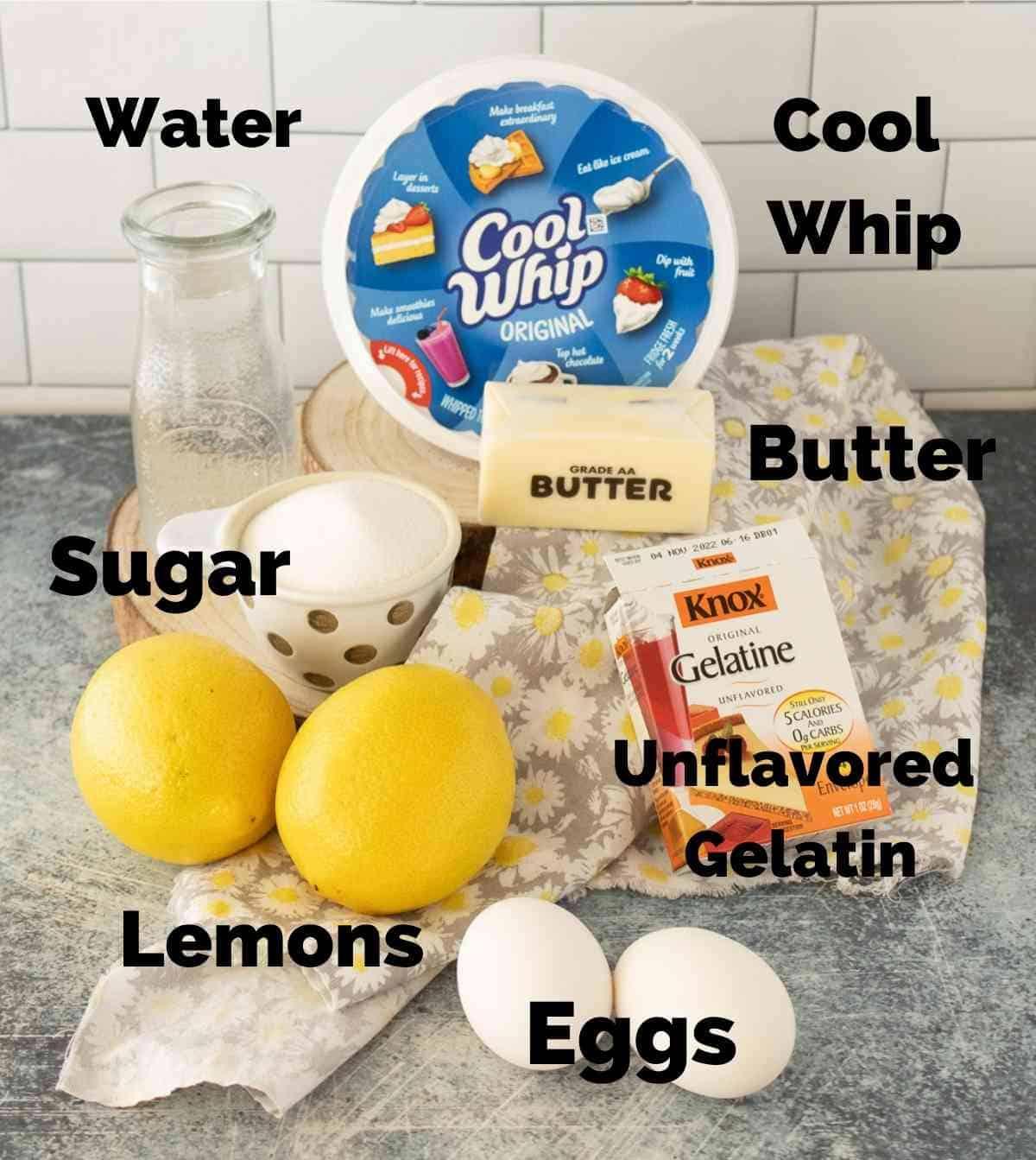 Ingredients for lemon jello salad.