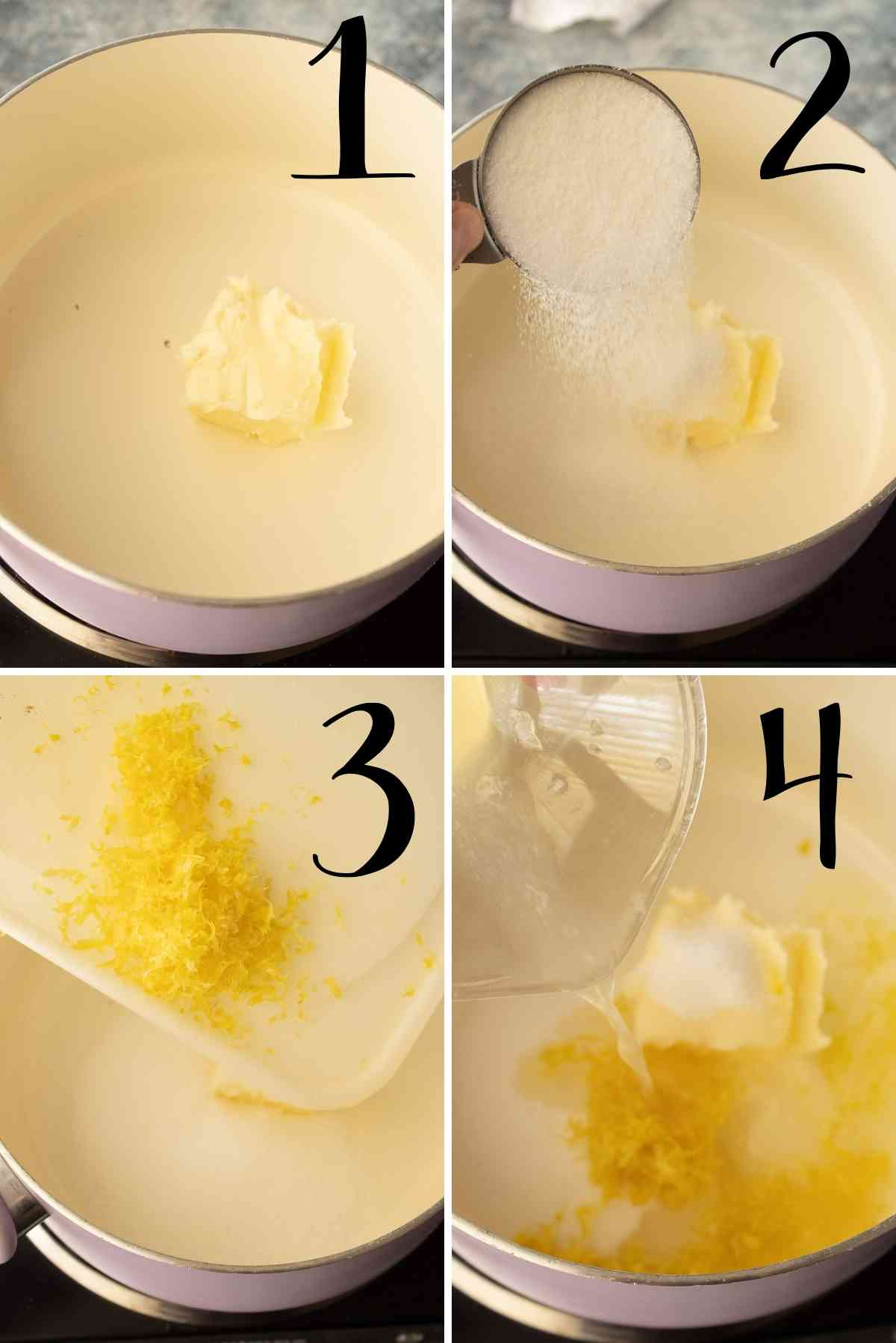 Bring butter, sugar, lemon zest and lemon juice to a boil.