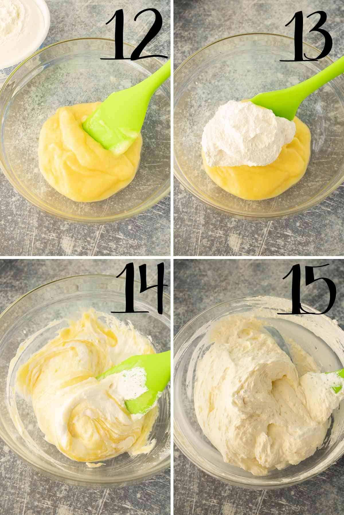 Fold whipped cream into chilled lemon curd.