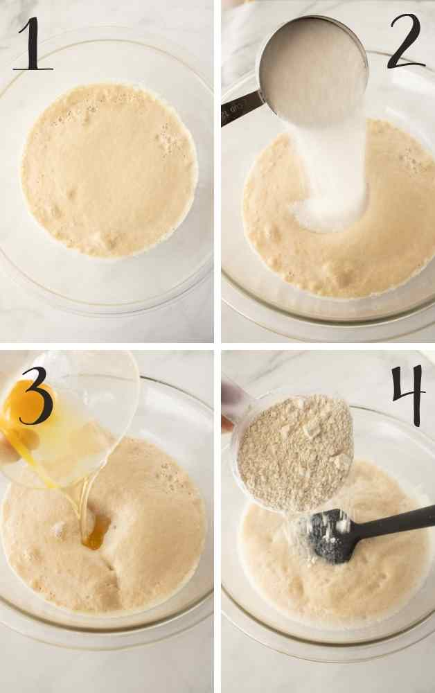 Pics showing steps from foamy yeast to adding flour.