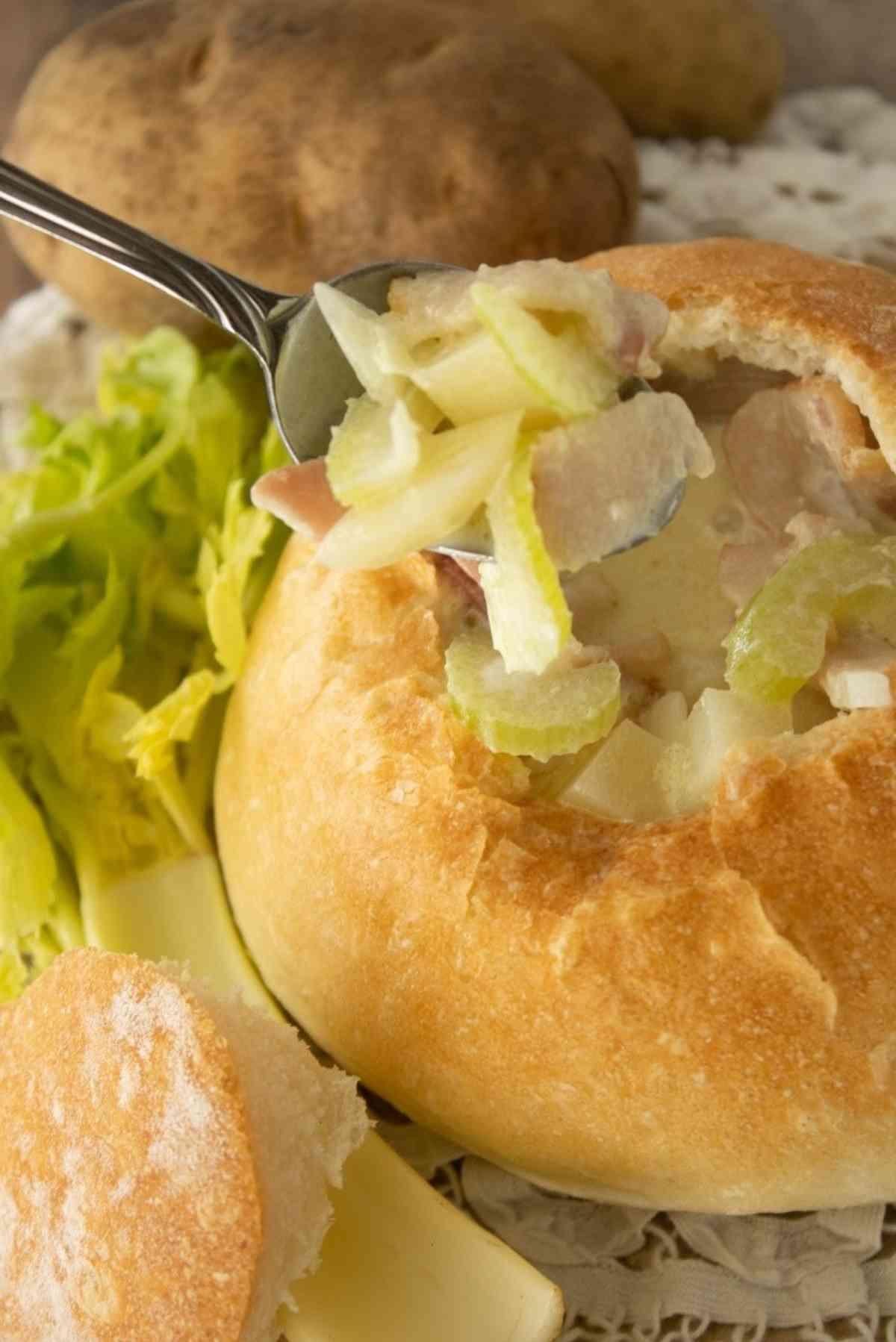 Homemade french bread bowl full of potato soup!