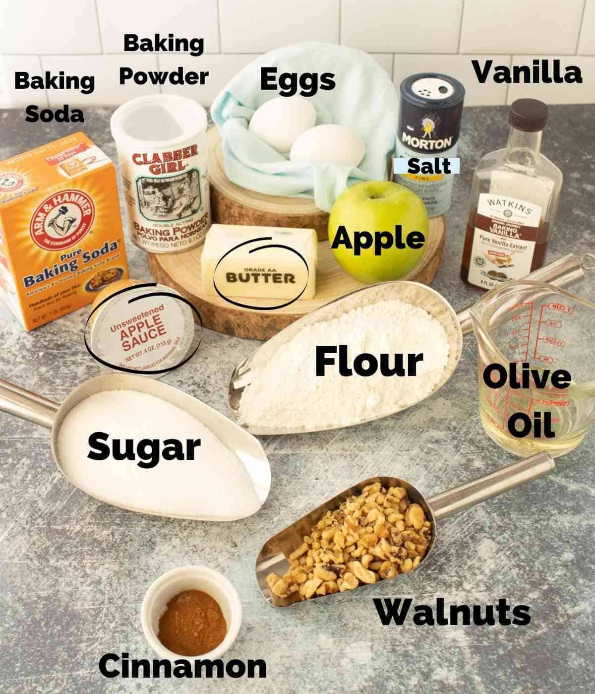 Ingredients for walnut apple bread.