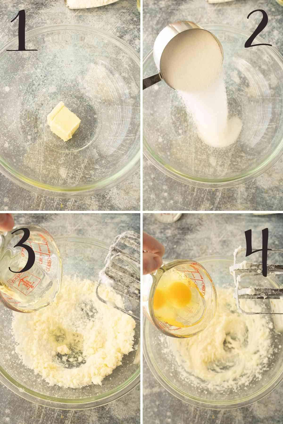 Butter, sugar, eggs and olive oil in a mixing bowl and creamed.