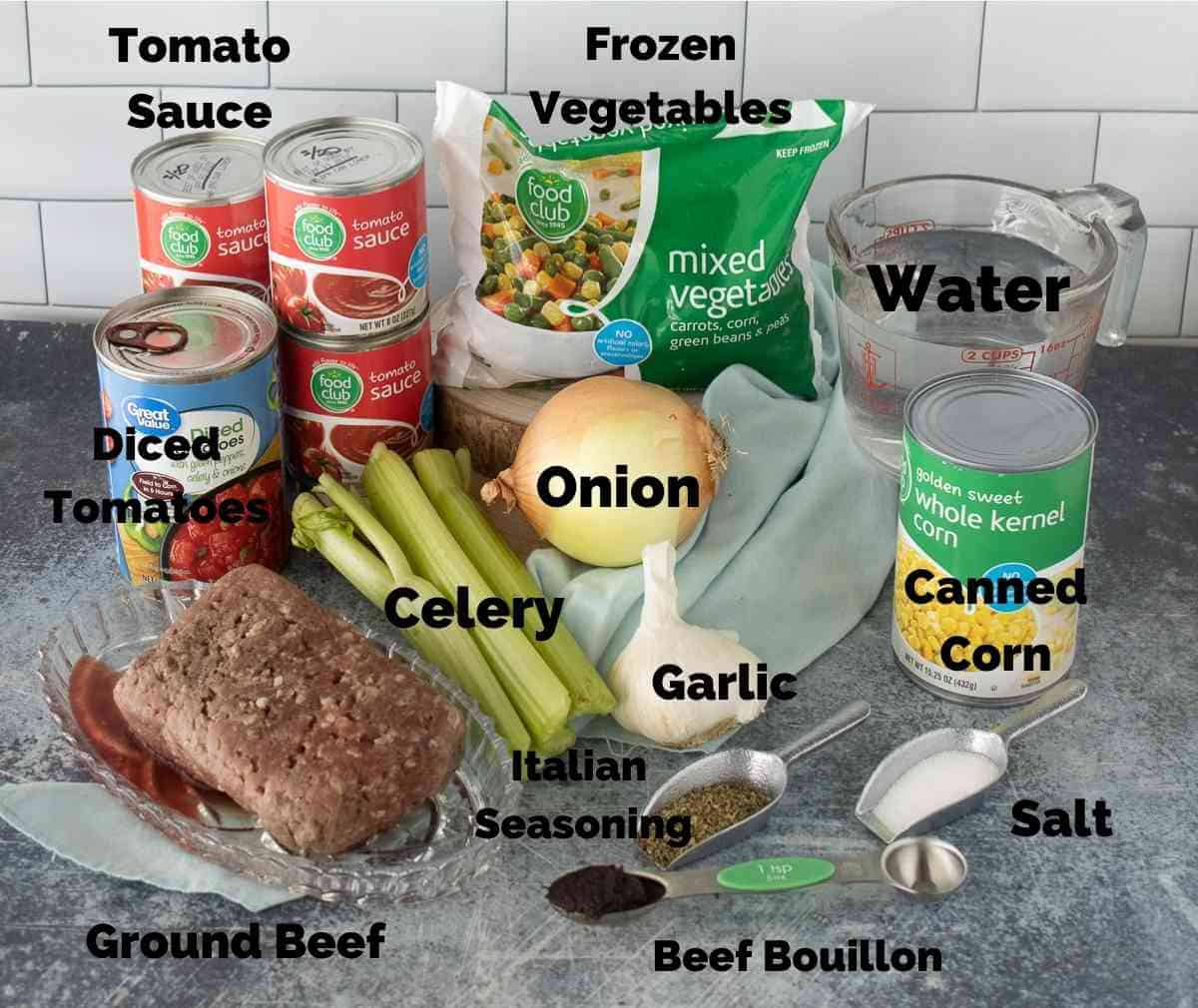 Ingredients for this vegetable beef soup.