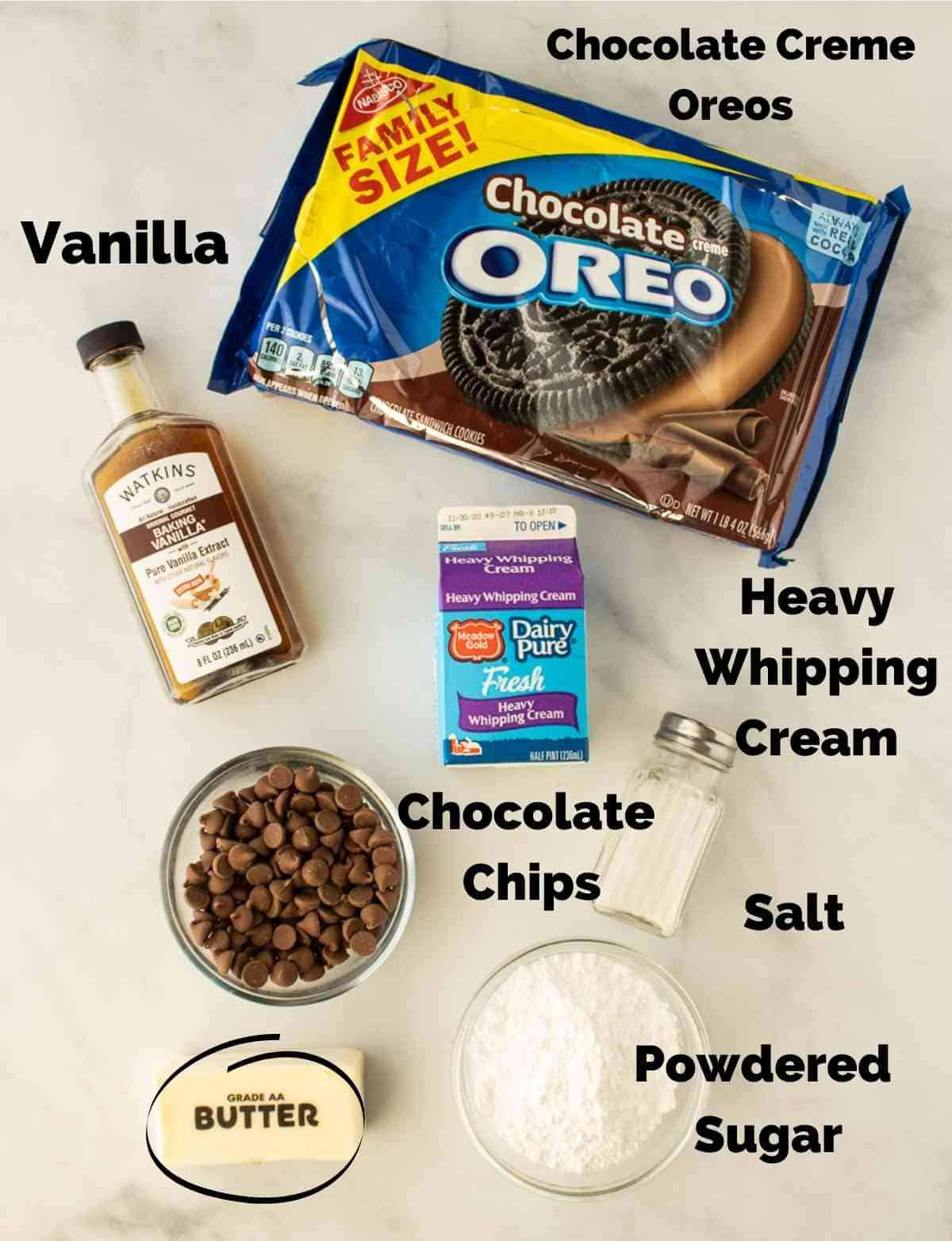 Ingredients for chocolate mousse pie.