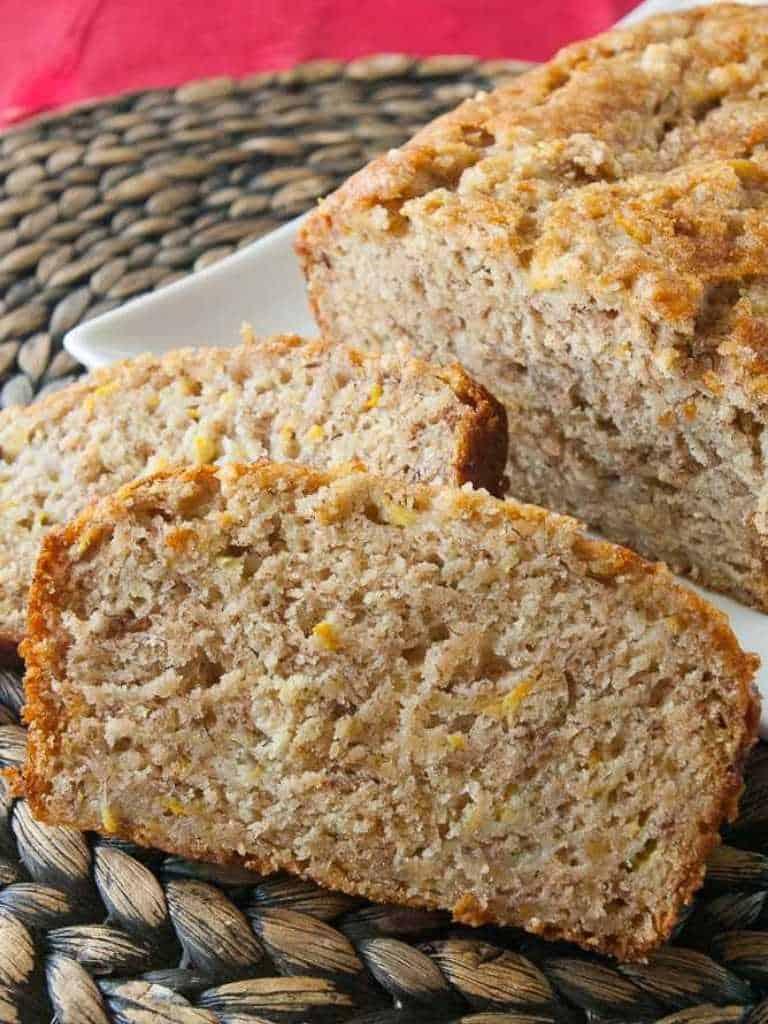 Hot loaf of easy banana zucchini bread.