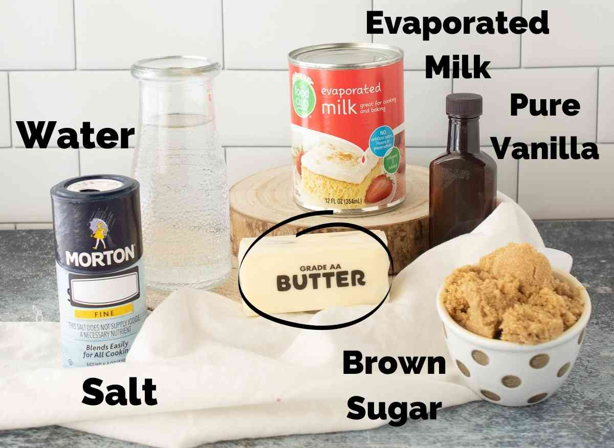 Ingredients for caramel syrup.