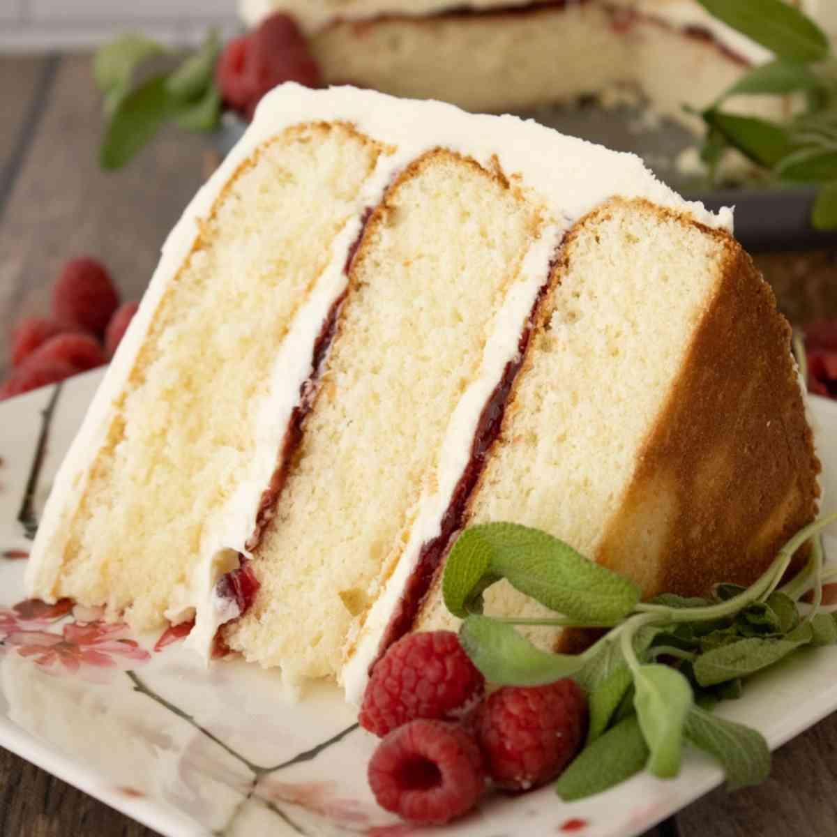 Slice of vanilla raspberry cake garnished with raspberries.