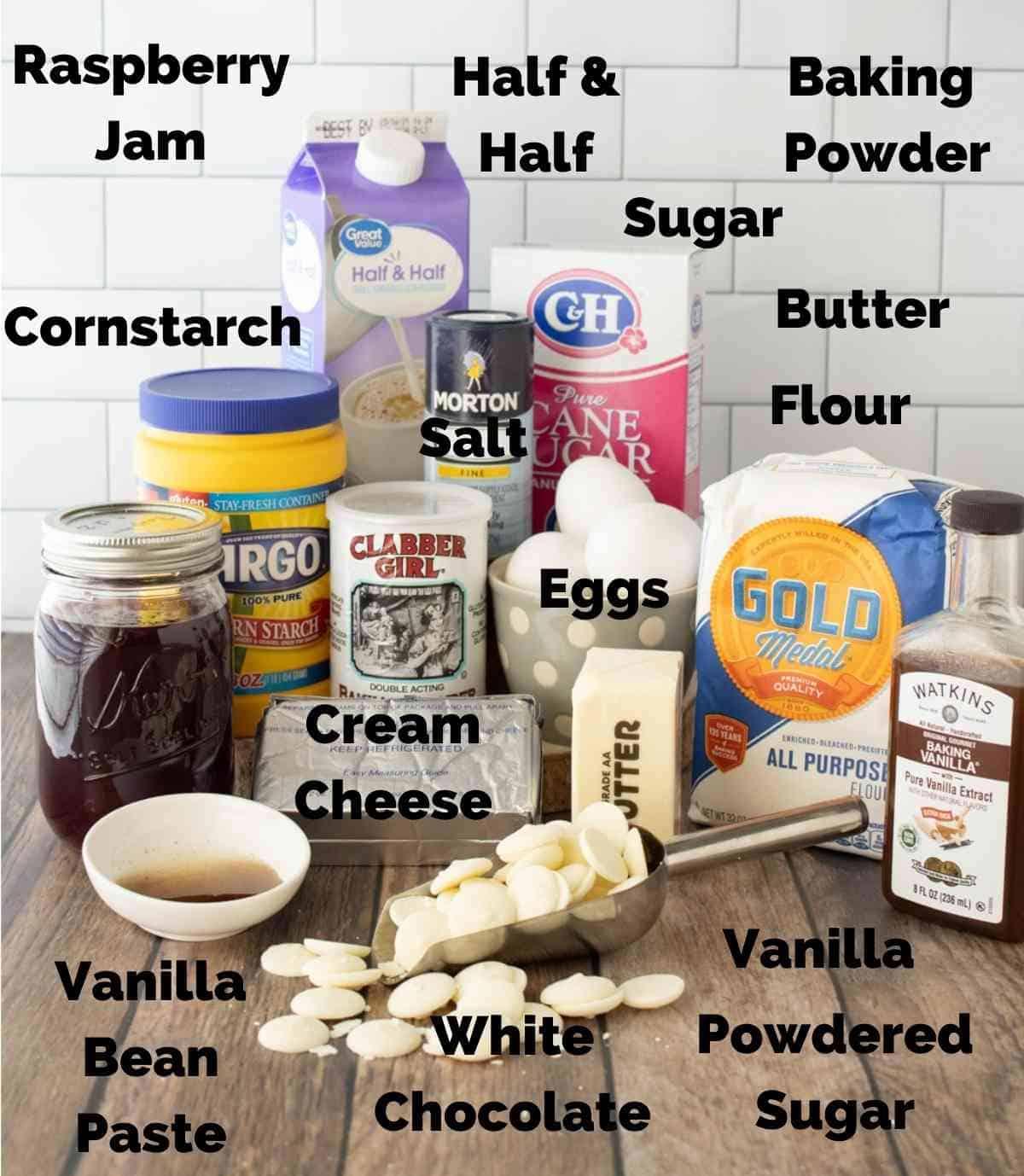 Ingredients for vanilla raspberry cake.