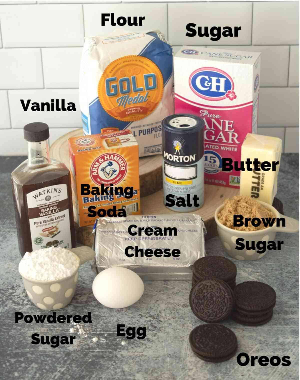 Ingredients for these soft oreo cookies.
