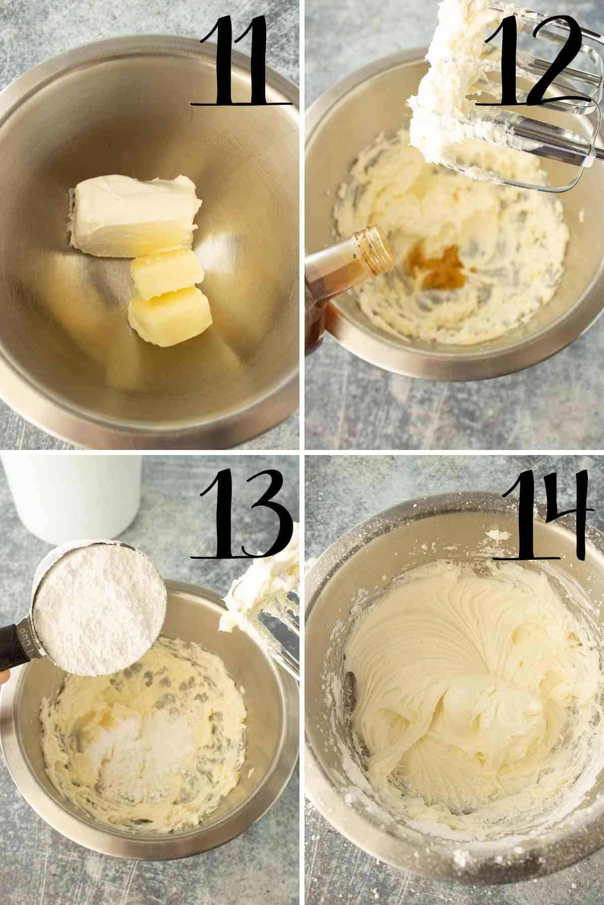 Steps to mixing up the cream cheese frosting.